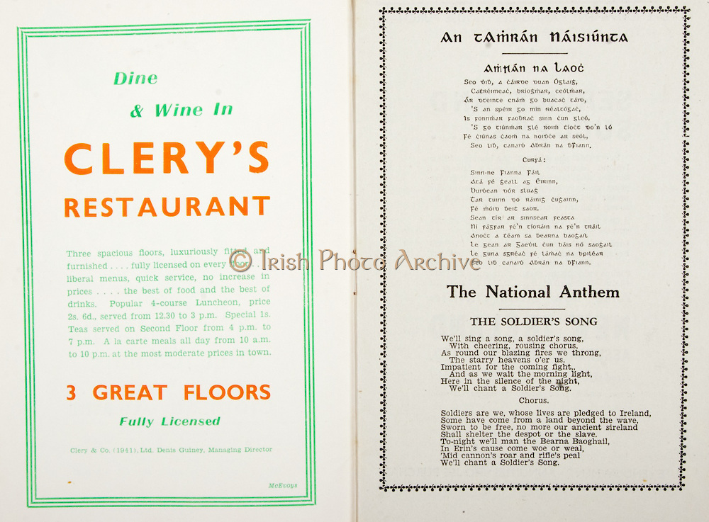 All Ireland Senior Hurling Championship Final,.Brochures,.02.09.1945, 09.02.1945, 2nd September 1945,.Tipperary 5-6, Kilkenny 3-6, .Minor Dublin v Tipperary, .Senior Tipperary v Kilkenny, .Croke Park, ..Advertisements, Clery's Restaurant, ..Songs, An Tamran Naisiunta, The National Anthem The Soldier's Song,
