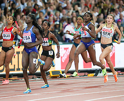 London, August 12 2017 .  Tori Bowie, USA,  wins ahead Great Britain's Daryll Neita  and Jamaica's  Sashalee Forbes in the women's 4x100m relay on day nine of the IAAF London 2017 world Championships at the London Stadium. © Paul Davey.