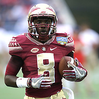Florida State Seminoles wide receiver Kermit Whitfield (8) is seen during warmups prior to an NCAA football game between the Ole Miss Rebels and the Florida State Seminoles at Camping World Stadium on September 5, 2016 in Orlando, Florida. (Alex Menendez via AP)
