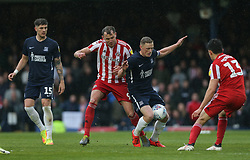 Sam Mantom of Southend United is fouled by Charlie Wyke of Sunderland Mandatory by-line: Arron Gent/JMP - 04/05/2019 - FOOTBALL - Roots Hall - Southend-on-Sea, England - Southend United v Sunderland - Sky Bet League One