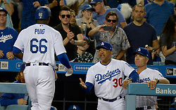 June 21, 2017 - Los Angeles, California, U.S. - Los Angeles Dodgers' Yasiel Puig during a Major League baseball game against the New York Mets at Dodger Stadium on Wednesday, June 21, 2017 in Los Angeles. Los Angeles. (Photo by Keith Birmingham, Pasadena Star-News/SCNG) (Credit Image: © San Gabriel Valley Tribune via ZUMA Wire)