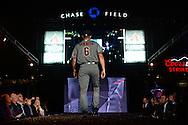 PHOENIX, AZ - DEC 3: D-backs David Peralta walks down the runway in one of the new 2016 uniforms. (Photo by Jennifer Stewart/Arizona Diamondbacks)