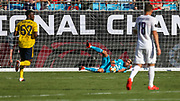 Arsenal goal keeper Emiliano Martinez (26) makes a save on a shot from Fiorentina midfielder Sebastian Cristoforo (18) during an International Champions Cup game, Saturday, July 20, 2010, in Charlotte, NC. Arsenal defeated Fiorentina 3-0. (Brian Villanueva/Image of Sport)