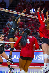 BLOOMINGTON, IL - September 14:  Nerissa Moravec strikes to Sydney Holt during a college Women's volleyball match between the ISU Redbirds and the University of Central Florida (UCF) Knights on September 14 2019 at Illinois State University in Normal, IL. (Photo by Alan Look)