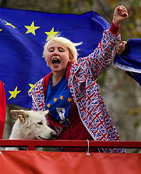 © Licensed to London News Pictures. 05/12/2016. London, UK. Pro EU supporters on an open top bus outside the Supreme Court  in Westminster, London for first day of a  Supreme Court hearing to appeal against a November 3 High Court ruling that Article 50 cannot be triggered without a vote in Parliament. Photo credit: Ben Cawthra/LNP
