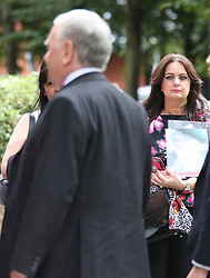 © Licensed to London News Pictures. 09/08/2017. Warrington, UK. South Yorkshire Police solicitor Peter Metcalf walks past Families of those who lost their lives in the Hillsborough disaster as he arrives at Warrington Magistrates Court. Former West Yorkshire Police Chief Sir Norman Bettison, former police officers Donald Denton and Alan Foster, South Yorkshire Police solicitor Peter Metcalf, and former Sheffield Wednesday secretary and safety officer Graham Mackrell are appearing at Warrington Magistrates Court today to face charges relating to the Hillsborough tragedy where 96 people died in 1989. Photo credit: Andrew McCaren/LNP