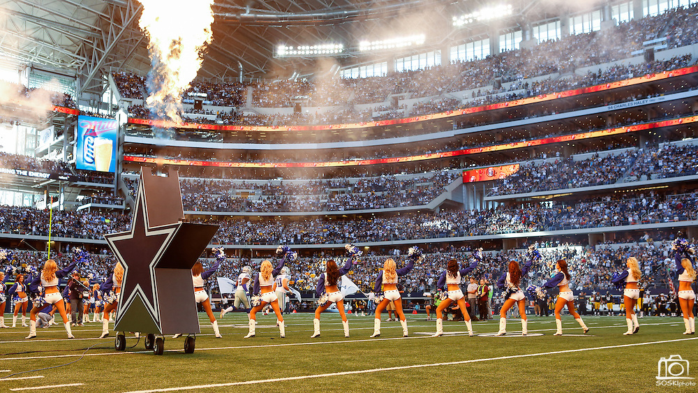 The Dallas Cowboys cheerleaders perform before the Cowboys take on the Pittsburgh Steelers at Cowboys Stadium in Arlington, Texas, on December 16, 2012.  (Stan Olszewski/The Dallas Morning News)