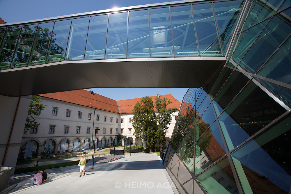 Linz, Cultural Capital of Europe 2009. The new South Wing of the Schlossmuseum (Castle Museum).