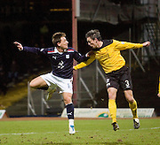 Dundee's Jake Hyde and Livingston's Maurice Ross - Dundee v Livingston, IRN BRU Scottish Football League, First Division at Dens Park - ..© David Young - .5 Foundry Place - .Monifieth - .Angus - .DD5 4BB - .Tel: 07765 252616 - .email: davidyoungphoto@gmail.com.web: www.davidyoungphoto.co.uk