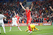 Wales forward Gareth Bale celebrates a goal during the UEFA European 2020 Qualifier match between Wales and Azerbaijan at the Cardiff City Stadium, Cardiff, Wales on 6 September 2019.