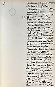 Handwritten notes for a speech supporting a bill offering amnesty to the communards (participants in the Paris Commune), 1876, page 23, by Victor Hugo, 1802-85, French writer, housed in the Archives du Senat, in the Senate in the Palais du Luxembourg, 6th arrondissement, Paris, France. Hugo was a senator for Seine 1876-85, and gave this speech on 22nd May 1876. Although this bill was not passed, a general amnesty was granted in 1880. Picture by Manuel Cohen