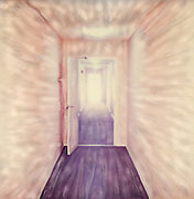 Altered Polaroid SX-70 photo of long white hallway with open doors leading to flared white light