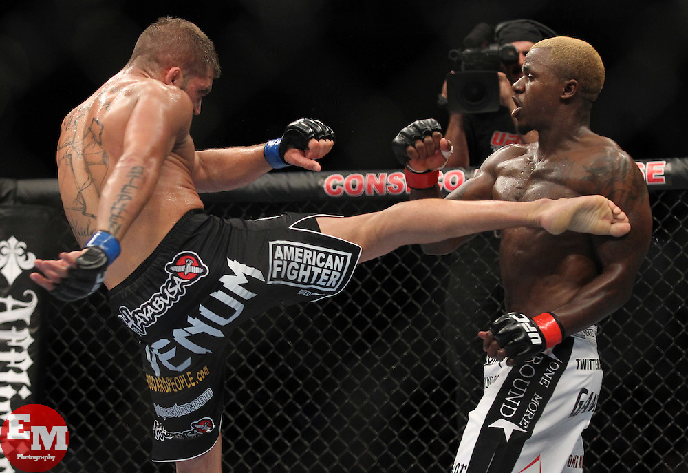 September 25, 2010; Indianapolis, IN; USA; Melvin Guillard (white trunks) and Jeremy Stephens (black trunks) during their bout at UFC 119 at the Conseco Fieldhouse in Indianapolis, IN. Guillard won via split decision.