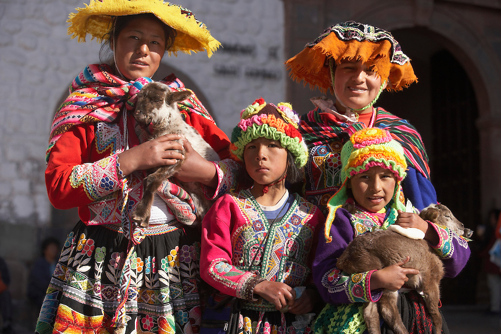 Indigenous women and children  Cusco, Peru
