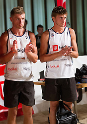 Jure Peter Bedrac and Leo Mohoric during medal ceremony after the final matches of Slovenian National Championship in beach volleyball Kranj 2012, on June 30, 2012 in Kranj, Slovenia. (Photo by Vid Ponikvar / Sportida.com)