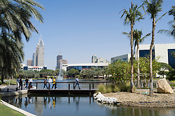 View across lake to Microsoft building in Dubai Internet City in United Arab Emirates UAE