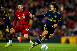 Matteo Guendouzi of Arsenal takes on Adam Lallana of Liverpool - Mandatory by-line: Robbie Stephenson/JMP - 30/10/2019 - FOOTBALL - Anfield - Liverpool, England - Liverpool v Arsenal - Carabao Cup