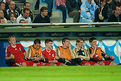 MARSEILLE, FRANCE - Tuesday, September 16, 2008: Liverpool's Dirk Kuyt, Philipp Degen, captain Steven Gerrard MBE, Daniel Agger, Fernando Torres and Xabi Alonso on the bench during the opening UEFA Champions League Group D match at the Stade Velodrome. (Photo by David Rawcliffe/Propaganda)