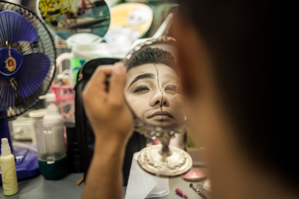 Backstage at Tiffany's Show, one of Pattaya's largest and most well-known ladyboy cabarets.