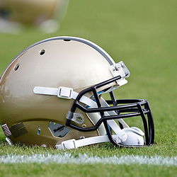 July 28, 2012; Metairie, LA, USA; A detailed view of a New Orleans Saints helmet during a training camp practice at the team's practice facility. Mandatory Credit: Derick E. Hingle-US PRESSWIRE