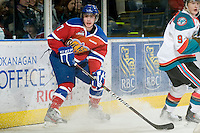 KELOWNA, CANADA, FEBRUARY 15: Stephane Legault #7 of the Edmonton OIl Kings looks for the pass at the Kelowna Rockets on February 15, 2012 at Prospera Place in Kelowna, British Columbia, Canada (Photo by Marissa Baecker/Shoot the Breeze) *** Local Caption ***