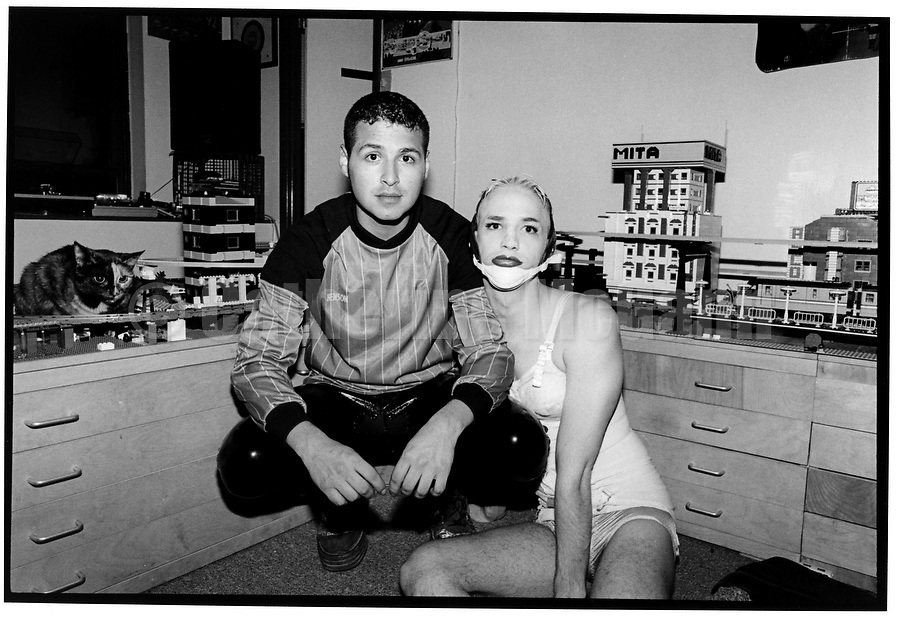 """Michael Alig, Club Kid and convicted murderer in a series of photos by Village Voice photographer Catherine McGann.  Alig was convicted of the murder of Angel Melendez and is the subject of the book """"Party Monster"""" by James St. James.  Alig was portrayed by actor Macauley Culkin in the film of the same name."""