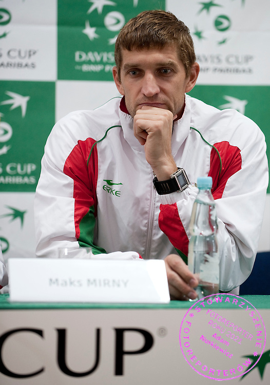 Max Mirnyi of Belarus while press conference after men's double game during the BNP Paribas Davis Cup 2012 between Poland and Belarus at MOSiR Hall in Lodz on September 15, 2012...Poland, Lodz, September 15, 2012..Picture also available in RAW (NEF) or TIFF format on special request...For editorial use only. Any commercial or promotional use requires permission...Photo by © Adam Nurkiewicz / Mediasport
