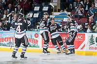 KELOWNA, CANADA - NOVEMBER 20: Gordie Ballhorn #4, Tomas Soustal #15, Tyson Baillie #24 and Cal Foote #25 of Kelowna Rockets celebrate a first period goal against the Edmonton Oil Kings on November 20, 2015 at Prospera Place in Kelowna, British Columbia, Canada.  (Photo by Marissa Baecker/Getty Images)  *** Local Caption *** Gordie Ballhorn; Tomas Soustal; Tyson Baillie; Cal Foote;