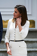 Queen Letizia of Spain attend an official lunch at Zarzuela Palace on May 14, 2018 in Madrid, Spain