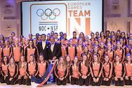 02-06-2015: Nieuws: Presentatie selectie Europese Spelen: Papendal<br /> <br /> (L-R) Team NL met in het midden voorzitter NOC*NSF Andre Bolhuis en chef de mission Jeroen Bijl<br /> <br /> European Games Team NL bestaat tijdens de eerste editie van het evenement in Baku uit 120 topsporters. Zij komen in totaal uit in zeventien sporten en nemen deel aan 24 disciplines. Chef de mission is Jeroen Bijl<br /> <br /> NOVUM COPYRIGHT / ORANGE PICTURES / GERTJAN KOOIJ