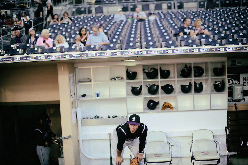 San Diego, CA - JUNE 04:   Nolan Arenado in the dugout before game against the Padres at Petco Park during game with the San Diego Padres San Diego, California.  (Sandy Huffaker for ESPN)