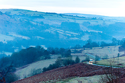 © Licensed to London News Pictures. 10/01/2019. Erwood, Powys, UK. Early morning mist hangs in the frosty Wye Valley near Erwood in Powys after temperatures drop to around minus 2.5 degrees centigrade overnight. credit: Graham M. Lawrence/LNP