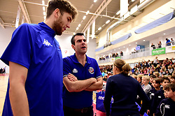 Bristol Flyers head coach, Andreas Kapoulas with Michael Vigor of Bristol Flyers  - Photo mandatory by-line: Joe Meredith/JMP - 18/11/2016 - BASKETBALL - SGS Wise Arena - Bristol, England - Bristol Flyers v Surrey Scorchers - British Basketball League