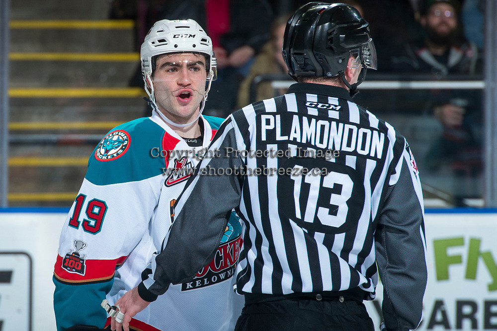 KELOWNA, CANADA - FEBRUARY 24:  Dillon Dube #19 of the Kelowna Rockets trash talks the Kamloops Blazers on his way to the penalty box during second period on February 24, 2018 at Prospera Place in Kelowna, British Columbia, Canada.  (Photo by Marissa Baecker/Shoot the Breeze)  *** Local Caption ***