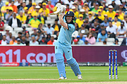 Eoin Morgan of England hits the ball to the boundary for four runs during the ICC Cricket World Cup 2019 semi final match between Australia and England at Edgbaston, Birmingham, United Kingdom on 11 July 2019.