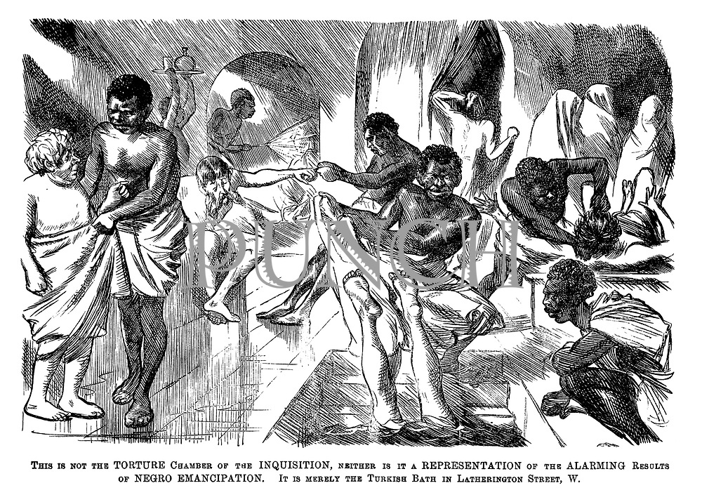 This is not the torture chamber of the Inquisition, neither is it a representation of the alarming results of negro emancipation. It is merely the Turkish Bath in Latherington Street, W.