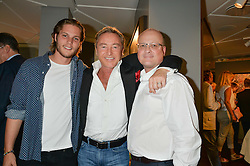 Left to right, CJ JONES, MICHAEL FLATLEY and THOMAS TRAUTMANN at a private view of paintings by Michael Flatley entitled Firedance held at 12 hay Hill, London on 24th June 2015.
