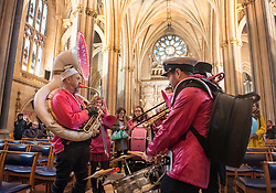 "© Licensed to London News Pictures. 10/12/2016. Bristol, UK. The Ambling Band play in Bristol Cathedral as Bristol is asked to Embrace Diversity on International Human Rights Day, welcoming humanity and diversity and building stronger communities to resist racism in Bristol as the focus of key events commemorating International Human Rights Day on Saturday 10th December 2016. There was a Sanctuary Walk from the Malcolm X Community Centre in St Pauls, headed by representatives of all Bristol's civic leaders, through the city centre to Bristol Cathedral. The two part event was organised by Bristol City of Sanctuary and local charity Bristol Refugee Rights. Revd Richard McKay, Chair of Bristol City of Sanctuary says, ""This walk will send out a clear message that Bristol is a City of Sanctuary and that we welcome refugees and asylum seekers in our beautiful city. We are walking to show welcome to those seeking sanctuary in our city. We are walking to join with other proud Bristolians to say that we are a city of diversity that treasures human rights."" Photo credit : Simon Chapman/LNP"