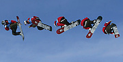 A multiple exposure shows Shaun White taking the last jump to win the men's snowboard slopestyle event at the Winter X Games Nine in Aspen, Colorado January 29, 2005.  Snowboard slopestyle tests a rider's ability to handle a variety of terrain by executing freestyle manuvers down a man-made course. REUTERS/Rick Wilking