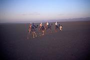 People camel trekking in the Sahara desert near Zagora, Morocco