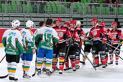 Players shaking hands during ice-hockey friendly match between legends of HDD Tilia Olimpija and HK Acroni Jesenice, on April 14, 2012 at SRC Stozice, Ljubljana, Slovenia. (Photo By Matic Klansek Velej / Sportida.com)
