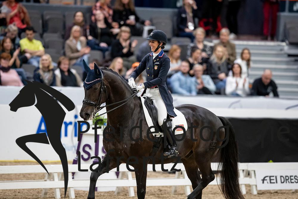 PERRY-GLASS Kasey (USA), Goerklintgaards Dublet<br /> Göteborg - Gothenburg Horse Show 2019 <br /> FEI Dressage World Cup™ Final I<br /> Int. dressage competition - Grand Prix de Dressage<br /> Longines FEI Jumping World Cup™ Final and FEI Dressage World Cup™ Final<br /> 05. April 2019<br /> © www.sportfotos-lafrentz.de/Stefan Lafrentz
