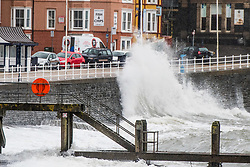 ©Licenced to London News PicturesAberystwyth Wales UK, Tuesday 11 September 2018. UK Weather: Strong winds, a high tide,  and driving rain make it a wet and blustery start to the day in Aberystwyth on the Cardigan Bay coast of west Wales.<br />  The UK is expecting the tail end of Hurricane Florence, which is is heading towards the eastern USA with ferocious energy , to affect the British Isles this coming weekend.  Photo © Keith Morris / LNP