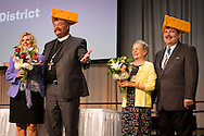 The Rev. Dr. Matthew C. Harrison, president of the LCMS, his spouse Kathy Harrison, the Rev. Herb Mueller, the re-elected LCMS first vice-president, and his spouse Faith Mueller react during the 66th Regular Convention of The Lutheran Church–Missouri Synod on Sunday, July 9, 2016, at the Wisconsin Center in Milwaukee. LCMS/Michael Schuermann