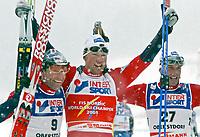 ◊Copyright:<br />GEPA pictures<br />◊Photographer:<br />Doris Hoefler<br />◊Name:<br />Estil<br />◊Rubric:<br />Sport<br />◊Type:<br />Ski nordisch, Skispringen<br />◊Event:<br />FIS Nordische Ski-Weltmeisterschaft, WM 2005, Nordische Kombination, Langlauf, 50 km, Sprint<br />◊Site:<br />Oberstdorf, Deutschland<br />◊Date:<br />27/02/05<br />◊Description:<br />Odd-Bjoern Hjelmeset, Frode Estil, Anders Aukland (NOR)<br />◊Archive:<br />DCSHO-2702054831<br />◊RegDate:<br />27.02.2005<br />◊Note:<br />8 MB - MP/WU - Nutzungshinweis: Es gelten unsere Allgemeinen Geschaeftsbedingungen (AGB) bzw. Sondervereinbarungen in schriftlicher Form. Die AGB finden Sie auf www.GEPA-pictures.com.<br />Use of picture only according to written agreements or to our business terms as shown on our website www.GEPA-pictures.com.