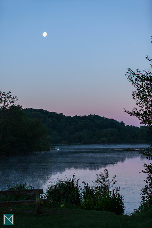 The moon at sunrise, Rickmansworth Aquadrome