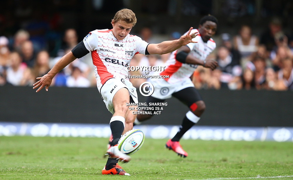 DURBAN, SOUTH AFRICA - APRIL 04: Patrick Lambie (Captain) of the Cell C Sharks during the Super Rugby match between Cell C Sharks and Crusaders at Growthpoint Kings Park on April 04, 2015 in Durban, South Africa. (Photo by Steve Haag/Gallo Images)