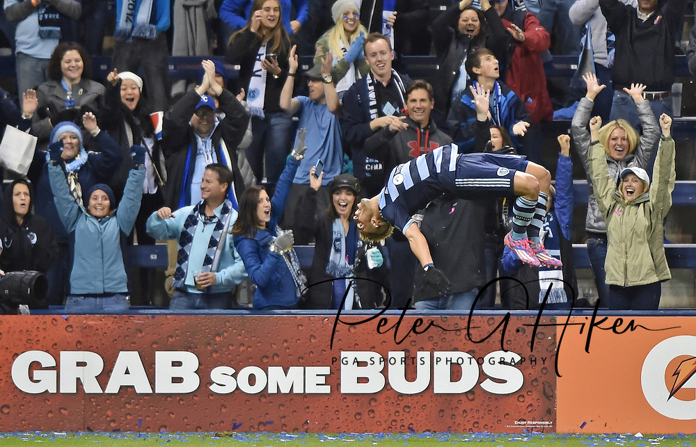 Sporting KC forward Dominic Dwyer (14) celebrates after scoring against the Chicago Fire during the second half at Sporting Park. Sporting KC won 2-0.
