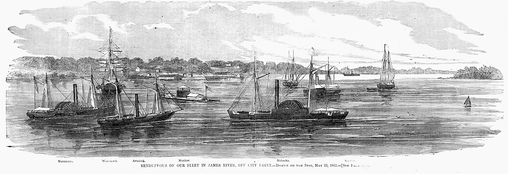 Top: Battle of Mechanicsville, Virginia May 24, 1862..Bottom: Rendezvous on the James River of the Union fleet off City Point, Virginia May 29, 1862.Harper's Weekly, June. 21, 1862.Page 390