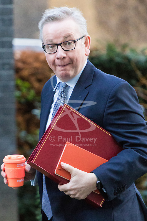 London, January 16 2018. Secretary of State for Environment, Food and Rural Affairs Michael Gove attends the UK cabinet meeting at Downing Street. © Paul Davey